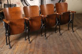 movie theater chairs for home vintage original wood and steel folding theater seats seating