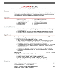 Manager Resumes Examples by Gorgeous Inspiration Examples Of Human Resources Resumes 3 Best