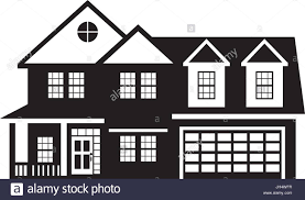 two level house with two car garage black and white outline stock