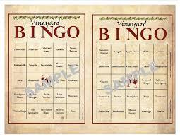 printable thanksgiving bingo 30 printable vineyard bingo cards instant download wine