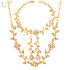 earring necklace set gold images 2018 u7 flower jewelry set gold silver color rhinestone french jpg