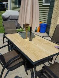 Cedar Table Top by Makeover An Outdoor Table And Refresh Chairs Patio Makeover