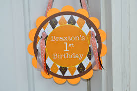 Halloween Birthday Party Decorations Argyle Birthday Door Sign Halloween Autumn Birthday Party