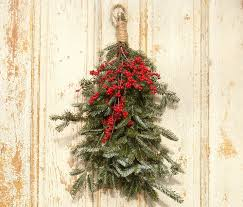 fresh christmas swag red berries fraser fir greenery front