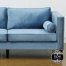cooper blue velvet sofa tov furniture metropolitandecor