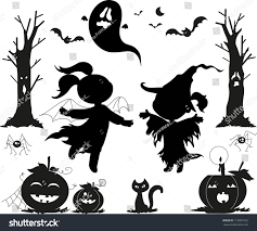 halloween black icons kids girls pumpkins stock vector 113031052