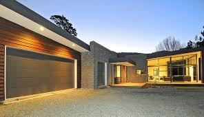 new zealand single story house front garage design feature of