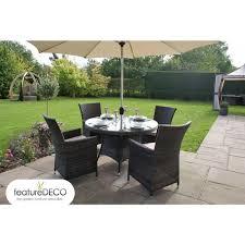 4 Seater Patio Furniture Set - maze rattan la round table rattan garden furniture 4 6 and 8 seater