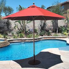 Commercial Patio Umbrella by Galtech 9 Ft Designer Teak Sunbrella Patio Umbrella Hayneedle