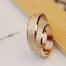 wedding rings for couples high quality titanium steel golden dull wedding