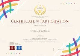 certificate of participation template with colorful corner and