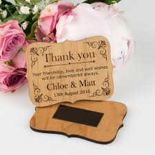 wedding magnets engraved wooden thank you cards with magnet custom wooden wedding
