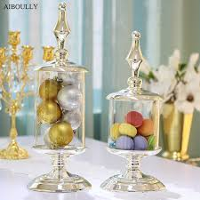 jar wedding decorations candy jar silver with transparent glass candy pot storage bottles