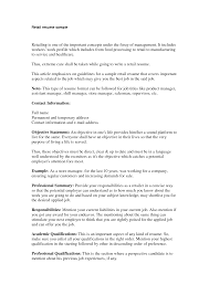 Examples Of Retail Resumes by Example Objective For Resume For Retail Templates