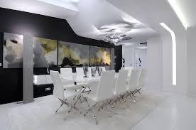 Dining Room Design Mid Sized Minimalist Light Wood Floor Great Room Photo In New York