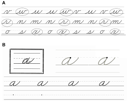 a an example of the cursive letter pre test participants circle