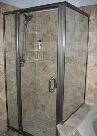 simple shower decor with glass mosaic wall panel accent combined