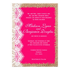 pink wedding invitations burlap and lace wedding invitations rustic country wedding