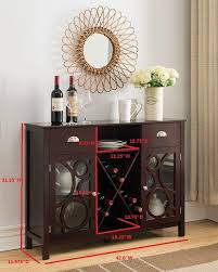 console table with wine storage dark cherry wood wine rack sideboard buffet display console table