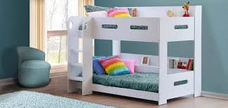 Modern Kids White Wooden Bunk Bed Storage Shelves EBay - White bunk beds uk