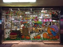 window displays painting from