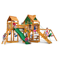 exterior gorilla playsets with green gable roof design ideas also