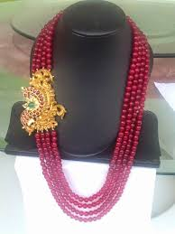 long bead chain necklace images Four layesr ruby beads chain with motif chains beads and indian jpg