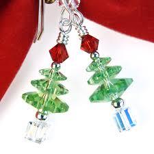 tree earrings peridot swarovski sterling