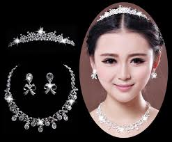 wedding tiara in stock wedding tiara bridal jewelry necklace and earring set