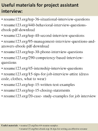 Resume Project Top 8 Project Assistant Resume Samples