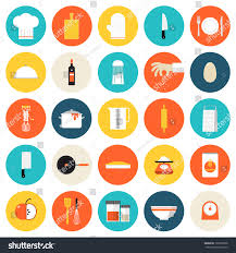 kitchen utensils cookware flat icons set stock vector 192550658