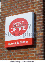 bureau change post office bureau de change store sign mk centre milton keynes uk