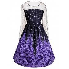 plus size mesh panel christmas tree and star print dress purple