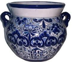 medium size traditional blue talavera ceramic pot mediterranean