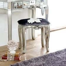 Ornate Vanity Table Stool For Bedroom Mirrored Dressing Table Padded Stool Bedroom