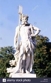 poseidon greek god of the sea full length statue in park of