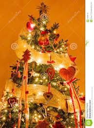 christmas tree with decorations and lights on stock photo image