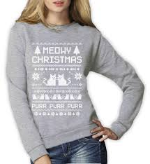 meowy christmas ugly sweater women sweatshirt funny cat lovers
