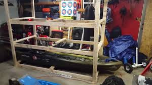 Wooden Kayak Storage Rack Plans by Diy Kayak Storage Youtube