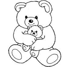 big teddy bear hugging teddy bear coloring
