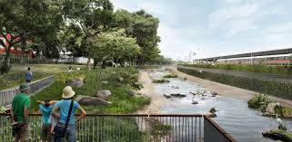 Cantilevered Deck by Stretch Of Kallang River To Be Transformed From Concrete Canal To