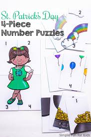 st patrick u0027s day 4 piece number puzzles printable simple fun