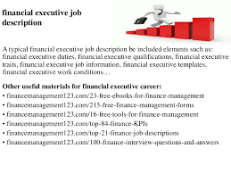 Financial Analyst Job Description Resume by Financial Executive Job Description