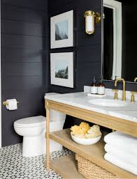 restful bathroom with shiplap clad walls painted gray green