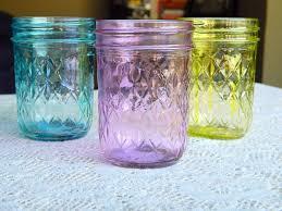 colored glass mason jars