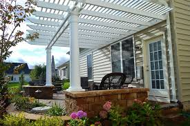 White Vinyl Pergola by Pergolas And Pergola Kits With Round Tapered Columns