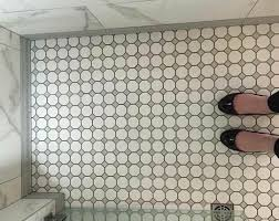marble and grey hexagon tile complete bathroom s historic feel