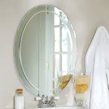 frame less bathroom vanity wall mirror with beveled edge scallop