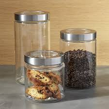 stainless steel kitchen canisters glass storage canisters with stainless steel lids crate and barrel
