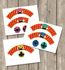 marron studio power rangers samurai inspired cupcake toppers
